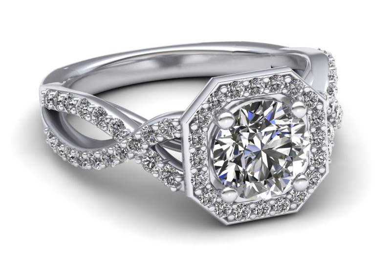 Luminar Creations octagon twist diamond engagement ring