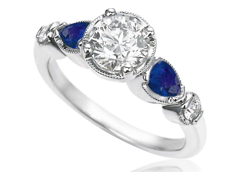 ZIVA Jewels vintage style diamond and sapphire engagement ring