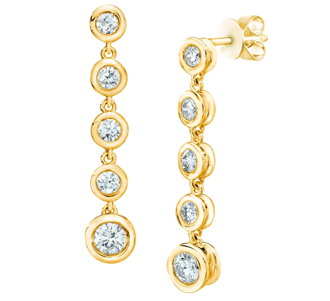 Eugene Biro bezel diamond line drop earrings