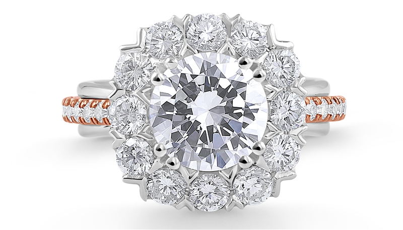 Daviani two-tone halo diamond engagement ring