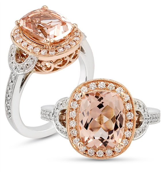 Costar morganite cushion halo ring