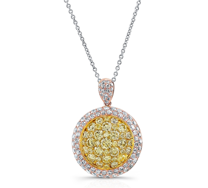 Kattan fancy yellow diamond cluster pendant