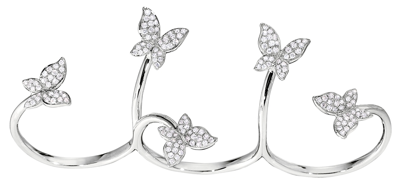 Hidalgo diamond butterfly hand ring