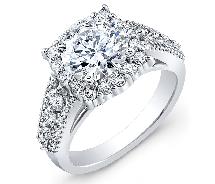 Malakan framed round diamond engagement ring
