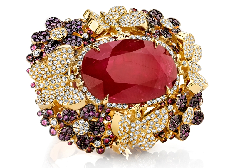 Rhonda Faber Green ruby Flutterby ring