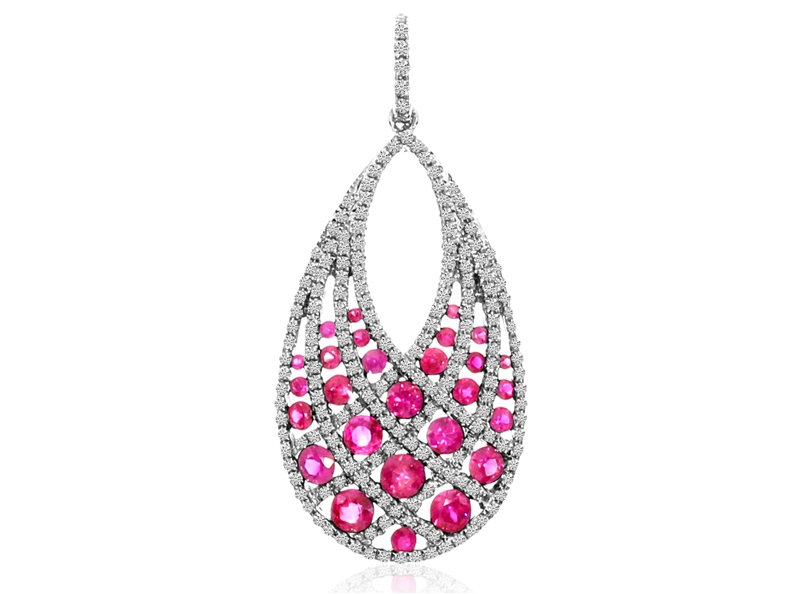 Color Merchants ruby and diamond woven pendant