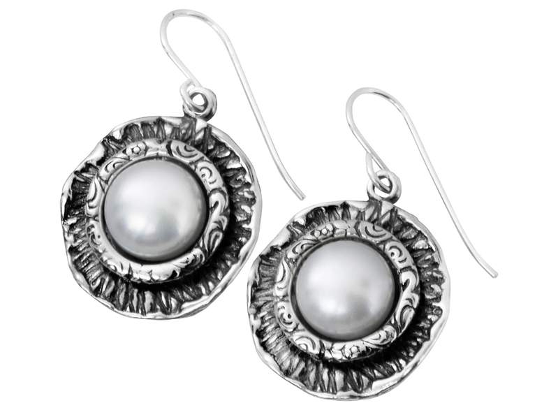 Shablool framed freshwater pearl drop earrings