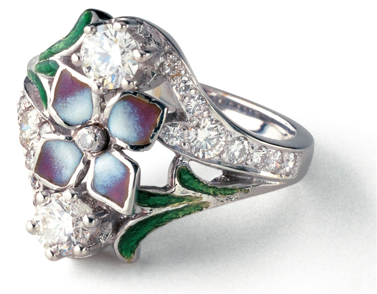 Enric Torres enamel flower and diamond ring