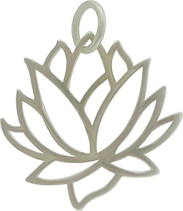 Nina Designs sterling silver lotus flower pendant