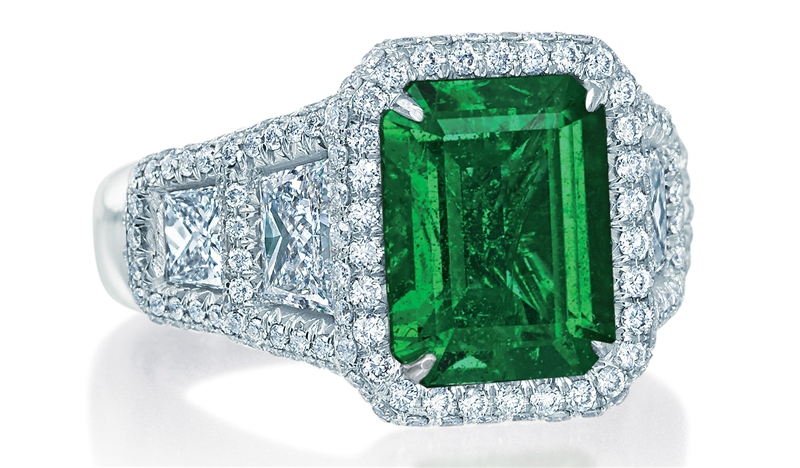 JB Star emerald cut emerald and diamond ring