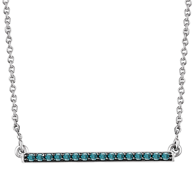 Stuller blue diamond bar necklace
