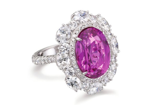 John Buechner oval pink sapphire cocktail ring