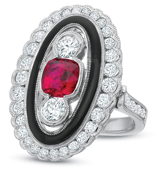 Pampillonia Deco style red spinel and diamond ring