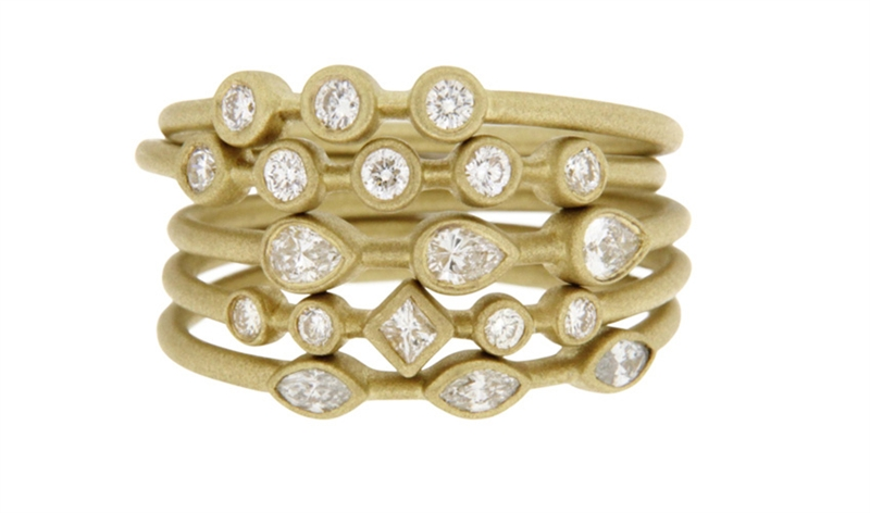 TATE matte gold diamond stacking rings