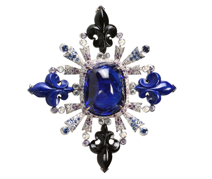 Lee Jewellery tanzanite fleur de lis brooch