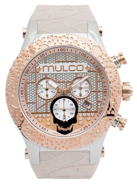 Mulco Watches Couture UK beige skull watch