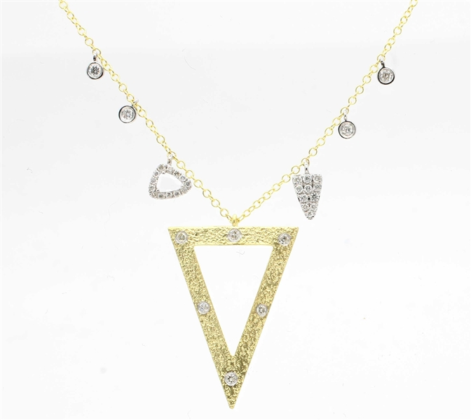 Meira T diamond triangle charm necklace