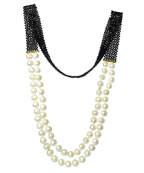 Rajola freshwater pearl and onyx necklace