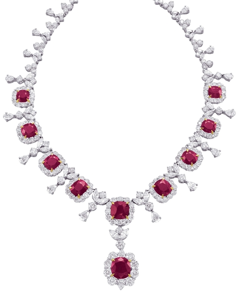 Jewels by Jacob platinum Burmese ruby and diamond necklace
