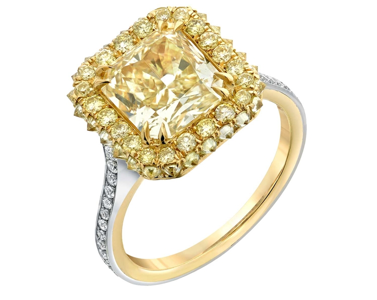 Tamir two-tone radiant yellow diamond ring