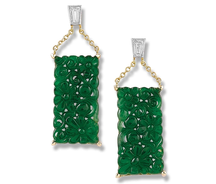 Mason-Kay fine cared green jade drop earrings