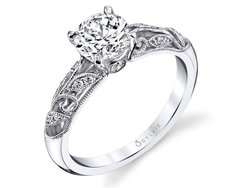 Sylvie Collection vintage inspired openwork diamond engagement ring