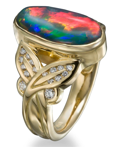 Conni Mainne black opal Jungle Dreams ring