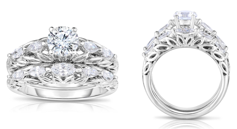 Diamour Adriana Papell diamond bridal set