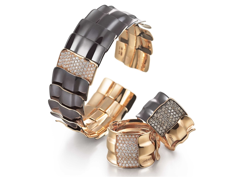 Garavelli Drago collection rings and cuff bracelet