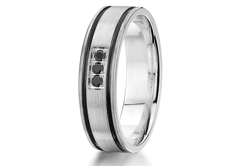 Atlantic Engraing Gravure Commitment black diamond wedding band