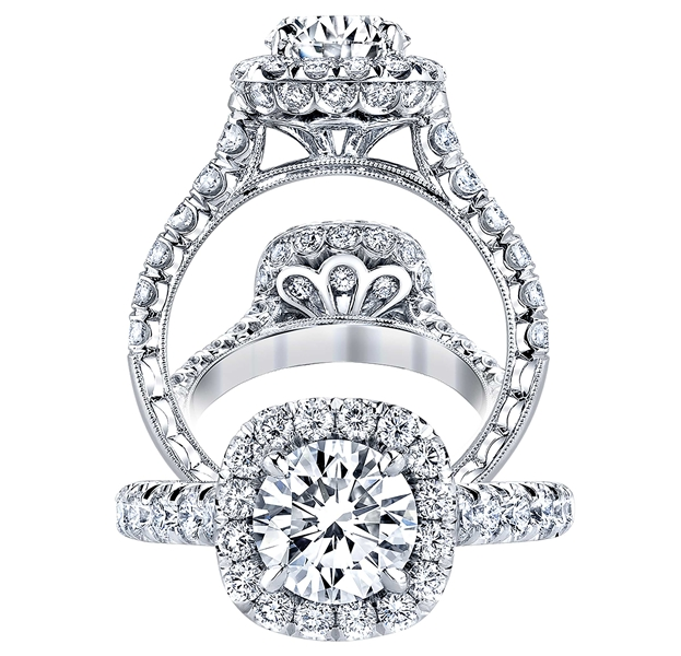 Jack Kelege platinum halo diamond engagement ring