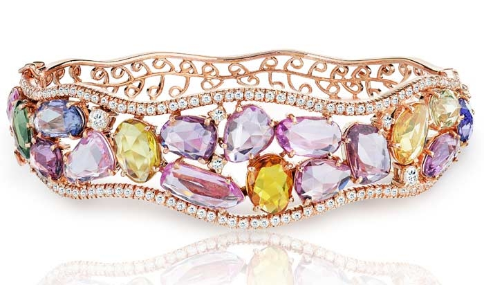 Haridra multicolor sapphire and diamond wave bracelet