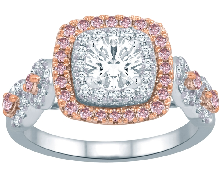 Bombay Jewels pink diamond halo engagement ring