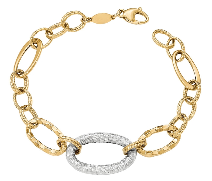 Quality Gold two-tone textured link bracelet