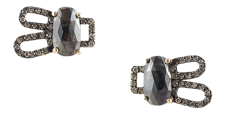 Harika rose-cut black diamond and champagne earrings