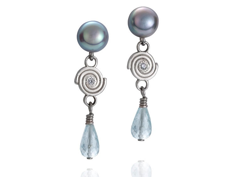 Martha Seely Inspiro pearl and aquamarine drop earrings