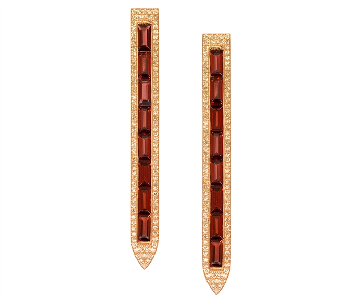 Ralph Masri baguette garnet stiletto earrings