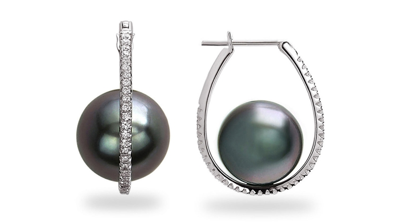 TARA Galaxy Tahitian pearl and diamond earrings