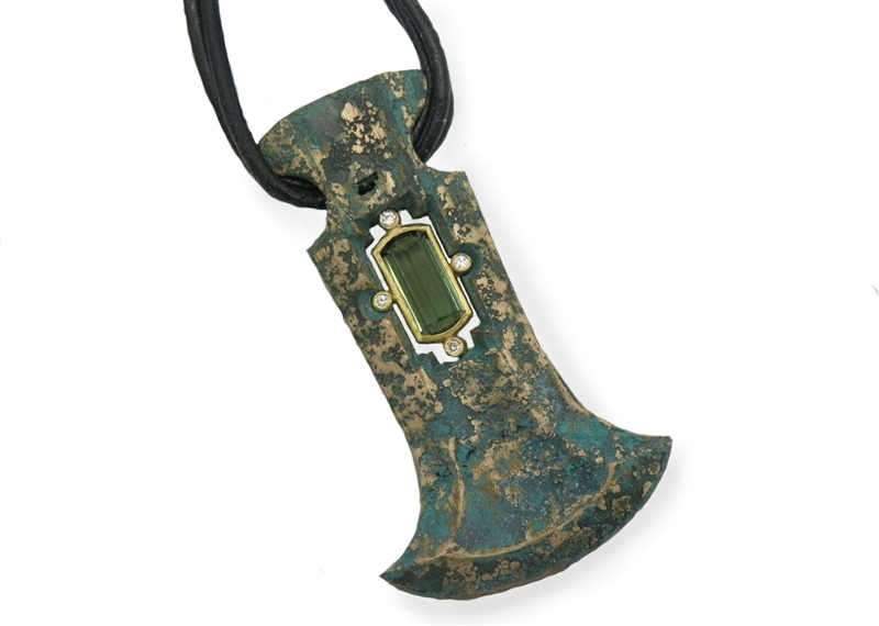 Michael Jensen green tourmaline Viking pendant
