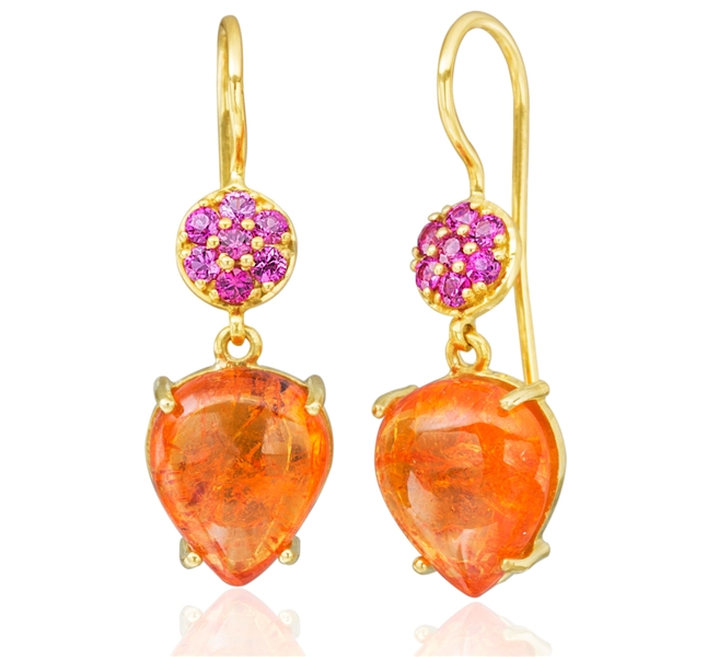 Lauren K Celia Mandarin garnet and pink sapphire earrings