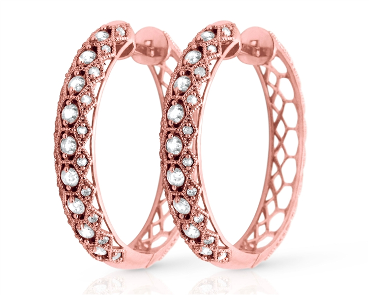 Fuzion Creations diamond lattice hoop earrings