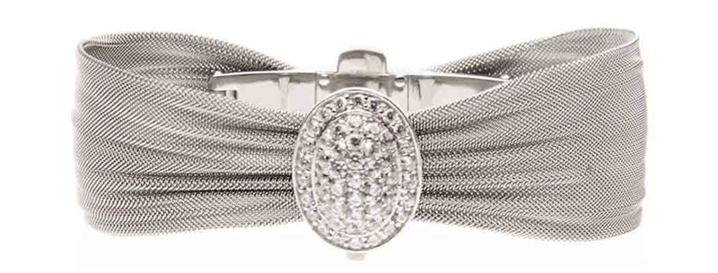 Killian Jewelry mesh ribbon bracelet with white topaz facette