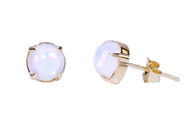 JewelMak round opal stud earrings