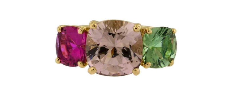 James Breski multicolor tourmaline three stone ring
