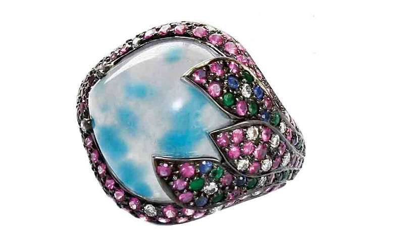 VIVAAN pave leaves paraiba ring