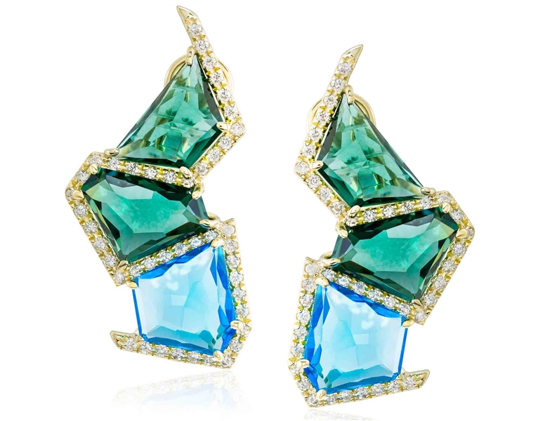 Marcia Budet blue topaz and green quartz earrings