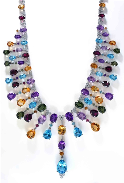 LALI Jewelry multicolor gemstone fringe necklace