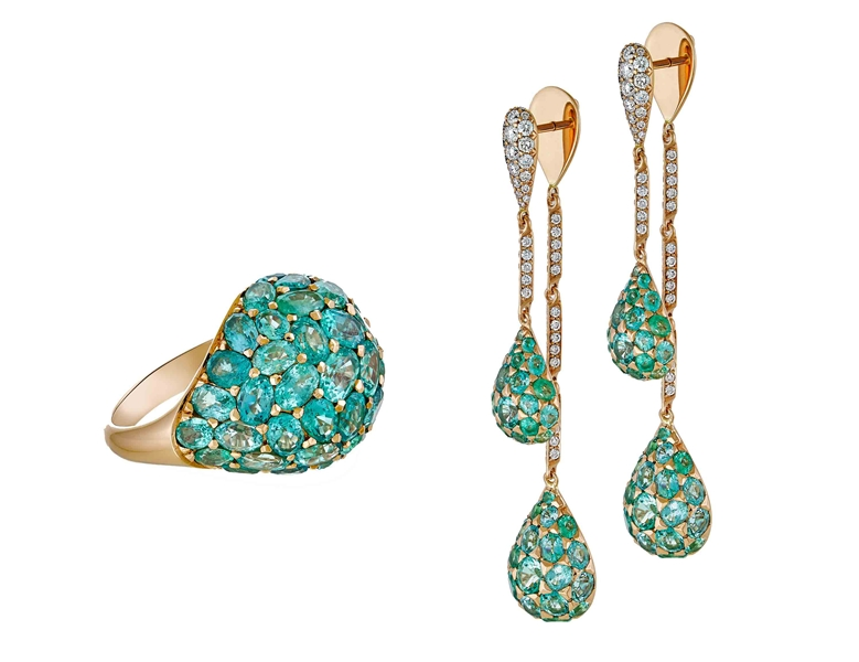 Sofragem emerald dome ring and earrings