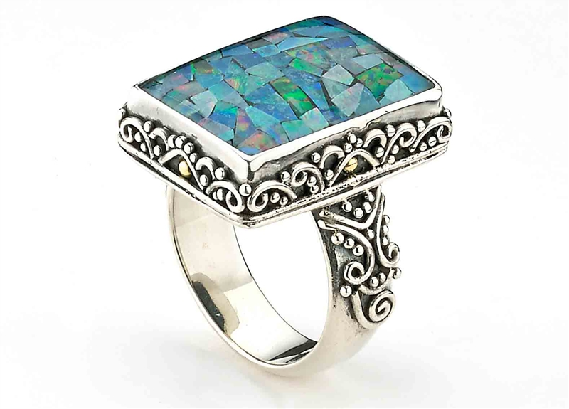 Samuel B Collection micro mosaic opal ring
