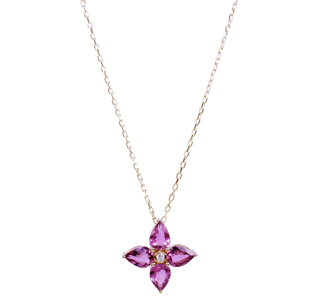 Andy Gotz pink tourmaline four point flower pendant
